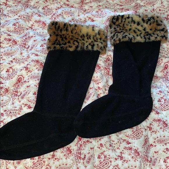 Hunter boot socks, black fleece/cheetah fur detail